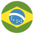 Small circular country flag icon of brazil
