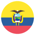 Small circular country flag icon of ecuador