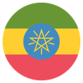 Small circular country flag icon of ethiopia