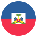 Small circular country flag icon of haiti