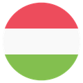 Small circular country flag icon of hungary