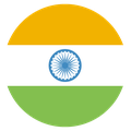 Small circular country flag icon of india