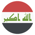 Small circular country flag icon of iraq