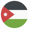 Small circular country flag icon of jordan