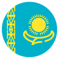 Small circular country flag icon of kazakhstan