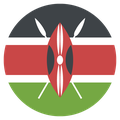 Small circular country flag icon of kenya