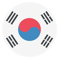 Small circular country flag icon of korea