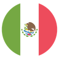 Small circular country flag icon of mexico
