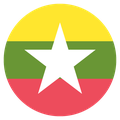 Small circular country flag icon of myanmar