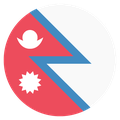Small circular country flag icon of nepal