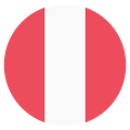 Small circular country flag icon of peru