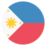 Small circular country flag icon of philippines