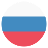 Small circular country flag icon of russia