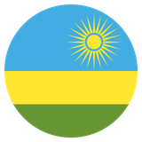Small circular country flag icon of rwanda