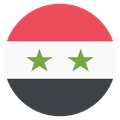 Small circular country flag icon of syria