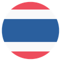 Small circular country flag icon of thailand