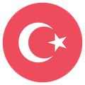 Small circular country flag icon of turkey