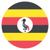 Small circular country flag icon of uganda