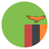 Small circular country flag icon of zambia