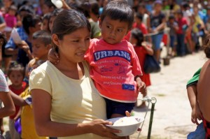 A mother and child at one of our feeding centers in Guatemala