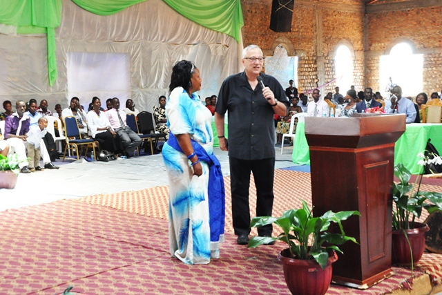 Vernon Brewer and Evah at Saint's Gate Church in Katwe, Uganda