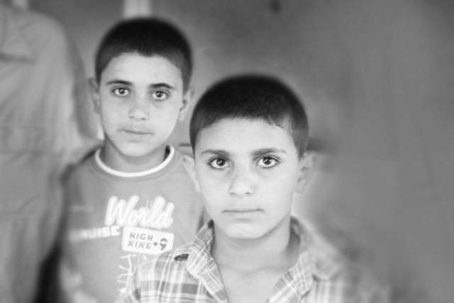 Two Syrian Boys in a Refugee Camp