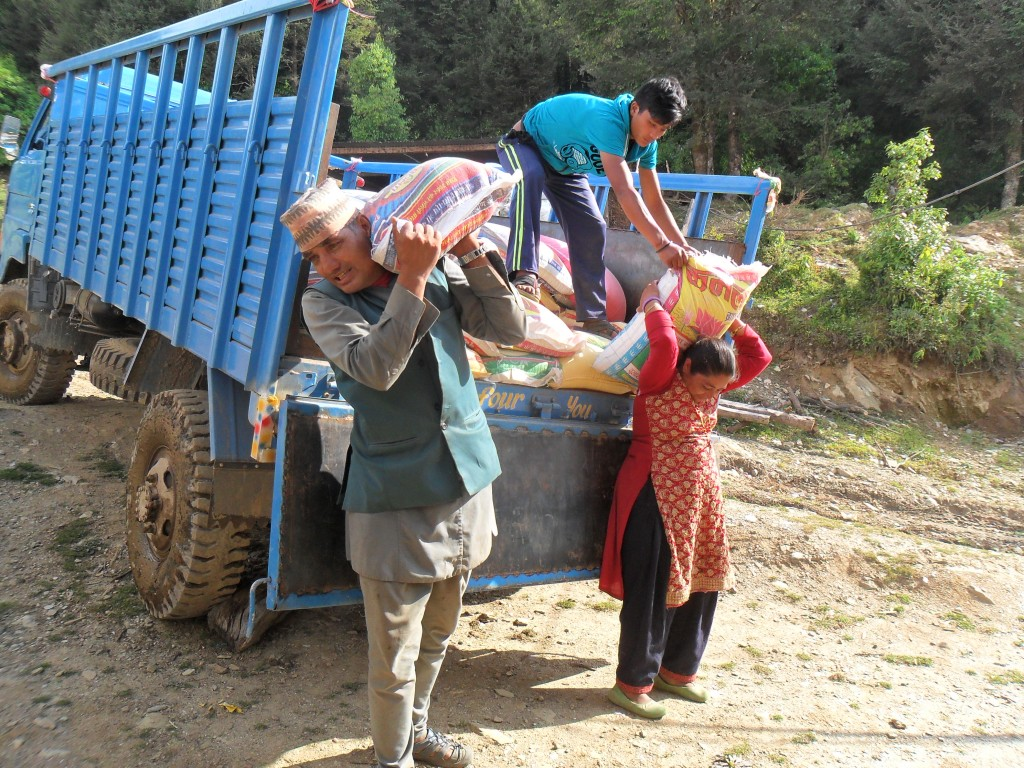 unload rice for sailung(Jhor) village (2)