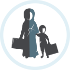 Illustrated icon about refugee relief