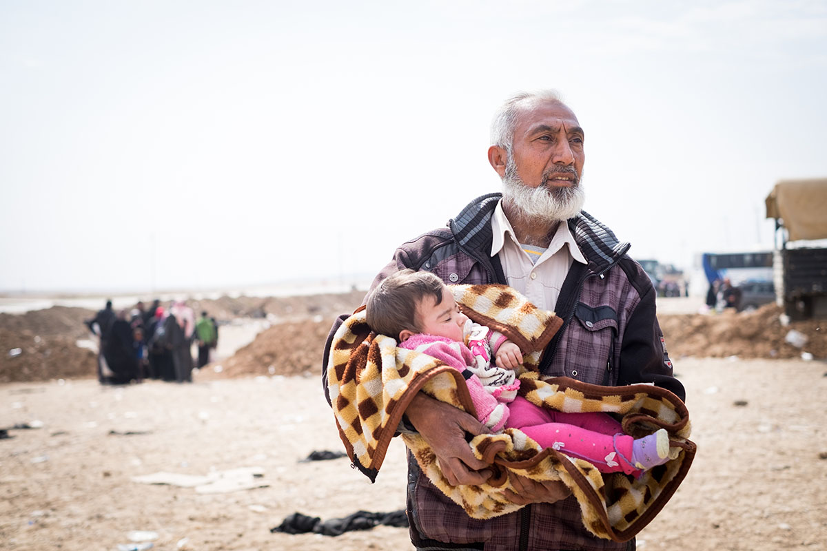 refugee, baby, man, Iraq, Mosul